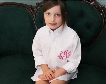 Flower Girl Monogrammed Oversized Button Down Shirt