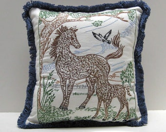 Children's Pillow with Horses Vintage Embroidery 12 x 12 inches
