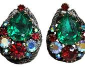 Stunning Jewel Tone Rhinestone Earrings