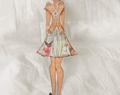 Handmade Beautiful Prima Julie Butterfly Dress Paper Doll Embellishment