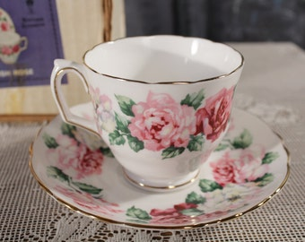 Crown Staffordshire English Bone China Tea Cup and Saucer Irish rose Pink Rose Buds Chintz in boxAfternoon Tea Time