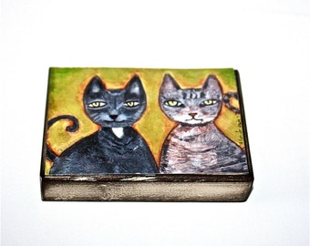 Two Cats - Aceo print mounted on Wood (2.5 x 3.5) Folk Art  by FLOR LARIOS