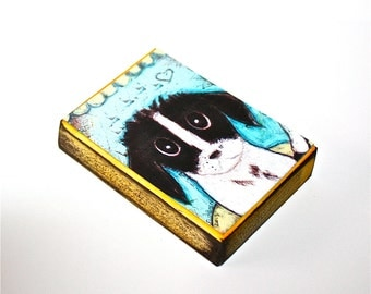 My Dog - Aceo print mounted on Wood (2.5 x 3.5) Folk Art  by FLOR LARIOS