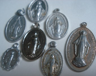 FOUND IN SPAIN -- Vintage religious medallions - set of 7