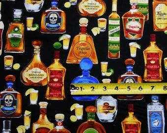 Cheers Tequila Liquor Bottles on Black BY YARDS Robert Kaufman Cotton Fabric