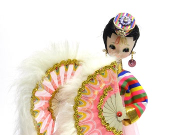 colectible eclectic vintage pose doll . Bradley style stockinette gal . colorful 1960s 1970s