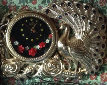 Vintage Kitsch Bohemian Gold Hand Painted Peacock Wall Clock