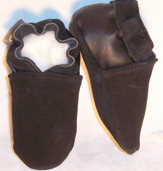 moxies soft soled leather baby shoes 2 tone black suede 12 18