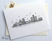Detroit, Michigan - United States - City Skyline Series - Folded Cards (6)