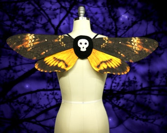 Spooky Death's Head Moth Costume Wings for Halloween, Gothic Fairy Wings, Costume --  Made to Order