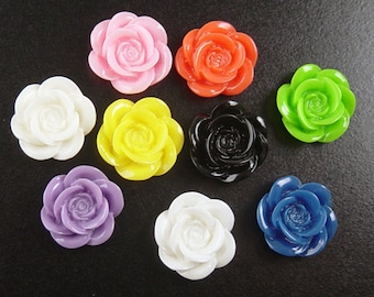 CLEARANCE Cabochon Flower 6 Resin Round Rose CHOICE Flower Opaque 18mm (1012cab18m4)os