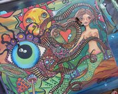 Singleton Art, Hippie Art, Recycled wood, Mermaid paining, large painting, nude mermaid, all seeing eye, sun art, tentacles art, trippy art,