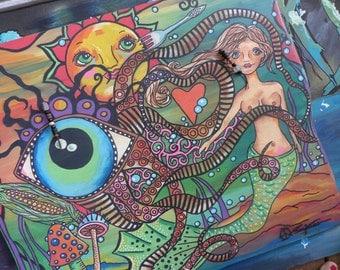Singleton Art, Hippie Art, Recycled wood, Mermaid paining, large painting, nude mermaid, all seeing eye, sun art, tentacles art, trippy art,
