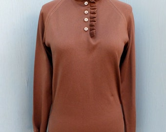 Vintage 1980s GIVENCHY Sport, Knit Top, Brown Pull Over, Sportswear, Casual Attire, Designer, size 34