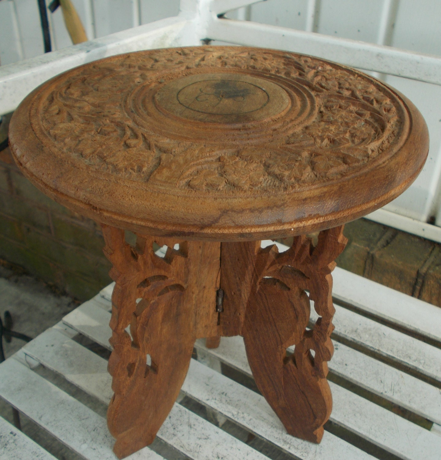 Vintage Hand Carved Wood Indian Folding Table Plant Stand Mini