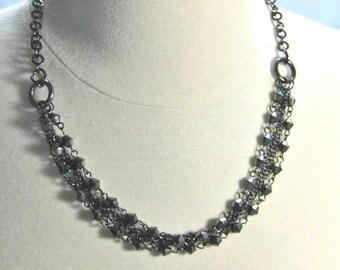 Black Multi Strand Chain and Bead Necklace, Gunmetal metallic black necklace
