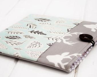 ipad sleeve, mini ipad cover, ipad air case, ipad 3 case, iPad Cover Padded Pocket Case Sleeve Cases for ipad Grey Buck Deer and Green Leaf