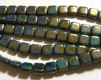 Czech 2 Hole, 6mm Tile Beads, Luster Transparent Gold - Turquoise LG63140 one string of 25 beads