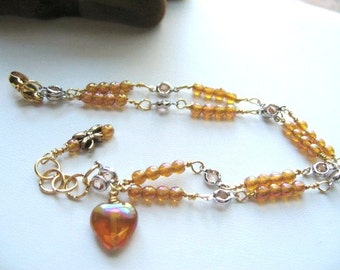 """Itsy Bitsy ... finely wire wrapped """"amber rainbow"""" glass for the November Babies .. #181"""
