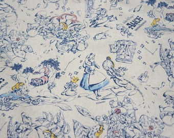 Alice in wonderland fabric Cotton linen 50 cm by 106  cm or 19.6 by 42 inches