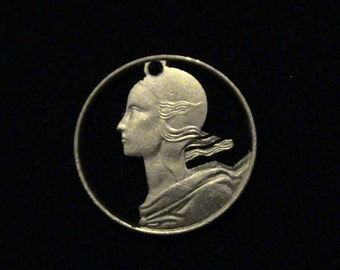 France - cut coin pendant - Woman - 1994