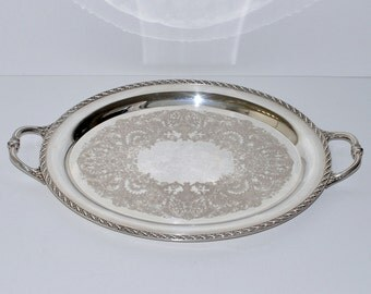 Vintage Wm Rogers & Son Spring Flower 2081 Large Oval Serving Silver Tray