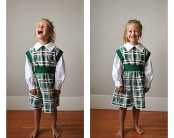 1970s Forest Plaid Dress~Size 4t/5t