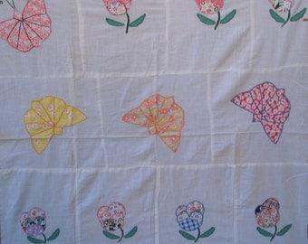 Quilt top  Appliqued quilt top  Small quilt top Childs quilt top Butterflies Flowers