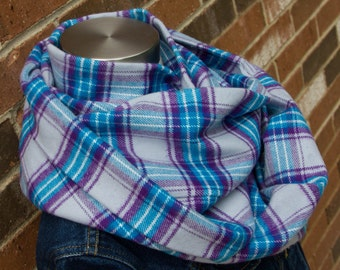 Grey, Blue & Purple Plaid Flannel Adult Infinity Scarf, Toddler Infinity Scarf, Girl Infinity Scarf, Child Infinity Scarf