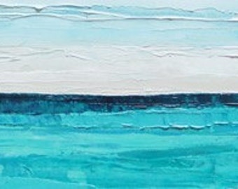 Ocean oil painting: Teal Waters, original painting, abstract painting, teal blue, beach, ocean painting