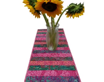 Quilted Table Runner in Pink and Green Batik