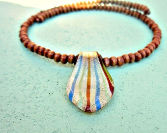 Adjustable Wood Beaded Memory Wire Choker with Stripey Dichroic Glass Pendant: Picadilly