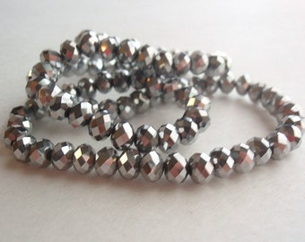 98 Glass Beads, jewelry making Supply, beautiful Faceted Rondelle, Silver Plated (Electroplated), Faceted, Abacus, 6mm X 4mm