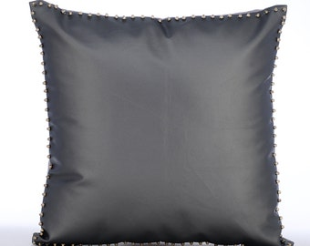 "Designer Grey Pillow Cases, Metallic Spikes Bordered Pillows Cover Square  18""x18"" Faux Leather Pillows Cover - Silent Night"