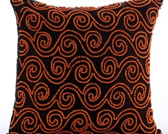 """Handmade Brown Decorative Pillows Cover, 16""""x16"""" Silk Throw Pillows Cover, Square  Orange Beaded Scroll Pillows Cover - Tibetain Monk"""