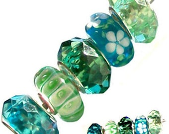 MERZIEs 5 silver lampwork glass acrylic European charm chain spacer beads - blue white green mint
