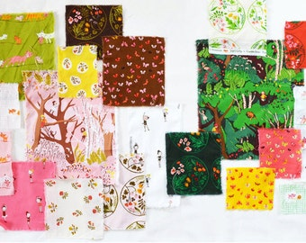Quilting cotton fabric - Fat Quarters 11-piece or 12-piece cotton fabric bundle Tiger Lily by Heather Ross