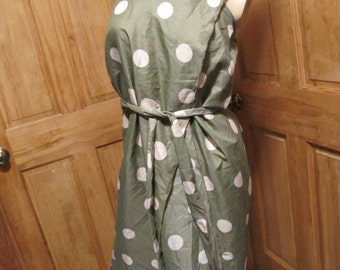 SALE - Olive Green Polka Dot Halter Wrap Summer Dress/Beach Cover Up (4660)