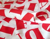 1970s Vintage Cotton Fabric with Red Letters Typography / Red and White Novelty Print Yardage