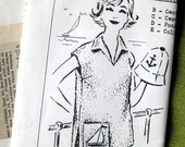 1960s Vintage Beach Topper and Hat Parade Sewing Pattern 421 Gidget Style Pullover Top / Uncut FF / Size S M & L