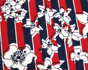 Vintage Cotton Yardage - MOD Floral and Stripes Print - Red White and Blue Sewing Fabric