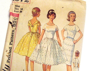 1960s Dress Pattern Simplicity 4972 Low Cut Back Day Evening Dress Full or Sheath Skirt Junior Teen Vintage Sewing Pattern / Size 14