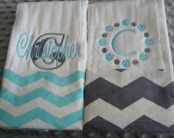 Christopher Personalized Set of 2 Burp Cloths - Choice of Name and/or up to 3 initials