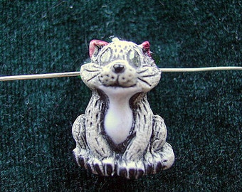 CAT, PENDANT, CERAMIC, Kids, Child, Sitting, 2mm Cord, Animal Peru