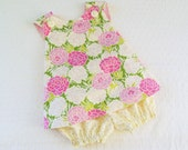 REVERSIBLE Cross-Back Pinafore Top and Bloomers Set baby or toddler - 3 mos to size 5 - Mums in Pink - Up Parasol Collection
