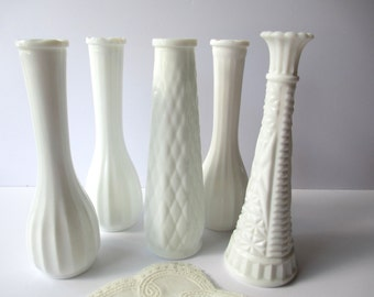 Vintage Milk Glass Bud Vase Collection of Five Brody - Wedding Decor