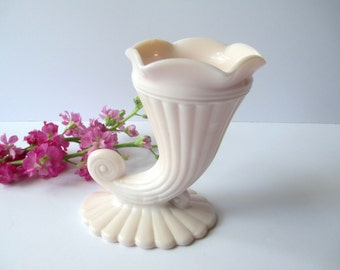 Vintage Jeannette Glass Cornucopia Shell Pink Milk Glass Vase -Retro Decor