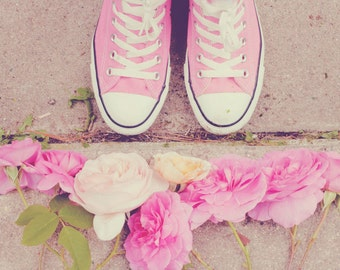 Still Life Photography - Teen Room Pink Floral Trainers Converse Flowers Photo Feminine Garden Print Girls Whimsical Fun Art English Roses