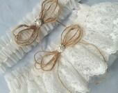 Lace Bridal Garter Ivory Lace Burlap Twine Tulle Elegant Pearl Rhinestone Accent Wedding Garter Set Something Blue