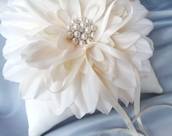 Ivory Dahlia Ring Bearer Pillow Pearl Rhinestone Accent Wedding Ring Pillow